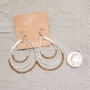 Silver and matte gold wire earrings